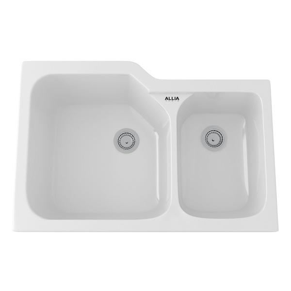 White Allia Fireclay 2 Bowl Undermount Kitchen Sink