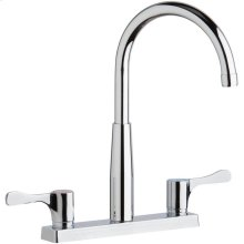 "Elkay 8"" Centerset Exposed Deck Mount Faucet with Gooseneck Spout and 4"" Lever Handles Chrome"