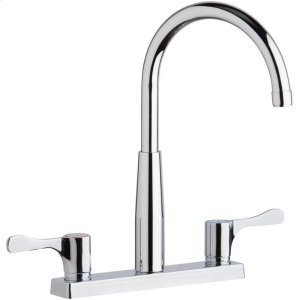 """Elkay 8"""" Centerset Exposed Deck Mount Faucet with Gooseneck Spout and 4"""" Lever Handles Chrome Product Image"""