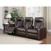 Camden Brown Bonded Leather 3-Piece Reclining Theater Set
