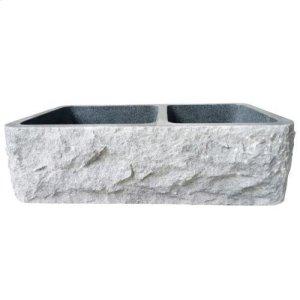 "Brandi Double Bowl Granite Farmer Sink - Polished Black / 33"" Product Image"