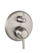 Brushed Nickel Thermostatic Trim with Volume Control and Diverter, Round