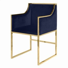 Navy Velvet Dining & Occasional Chair With Brass Frame.