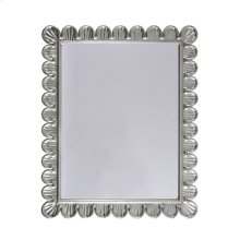 Mirror With Scalloped Edge Frame In Silver Leaf.