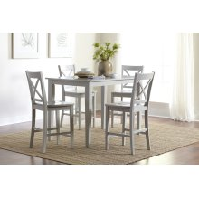 Simplicity Counter Height Table With 4 X Back Stools - Dove