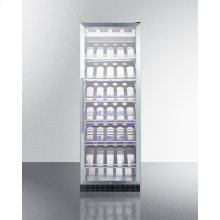 Full-size Commercially Listed Wine Cellar With Stainless Steel Interior, Champagne Shelving, Digital Controls, Self-closing Glass Door, and Stainless Steel Cabinet