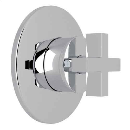 Polished Chrome Pirellone 4-Port, 3-Way Diverter Trim Only with Cross Handle