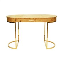 Oval Desk In Burl Wood With Brass Base