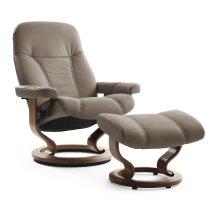 Stressless Consul Medium Classic Base Chair and Ottoman