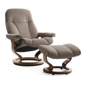 Stressless Consul Large Classic Base Chair and Ottoman