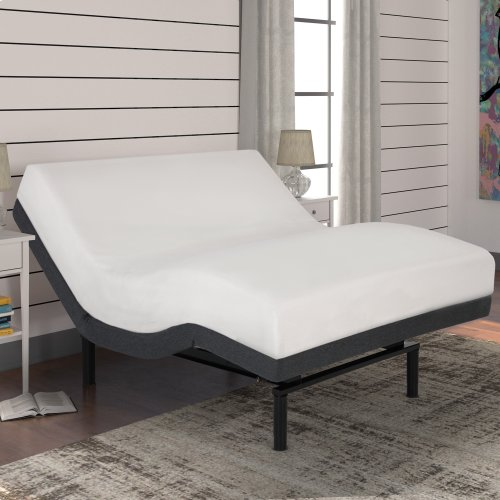 S-Cape 2.0+ Adjustable Bed Base with (2) 4-Port USB Hub's and Full Body Massage, Charcoal Gray Finish, Twin