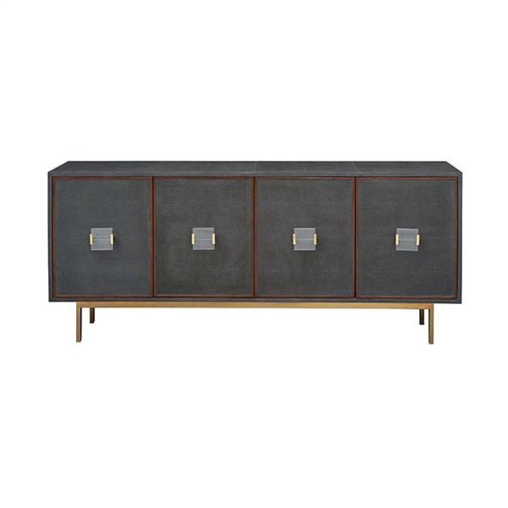 Four Door Low Cabinet In Dark Grey Shagreen With Wood Trim