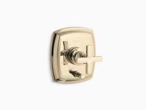 Vibrant French Gold Rite-temp Pressure-balancing Valve Trim With Push-button Diverter and Cross Handles, Valve Not Included Product Image