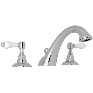Polished Chrome Viaggio 3-Hole Deck Mount C-Spout Tub Filler with White Porcelain Lever Product Image
