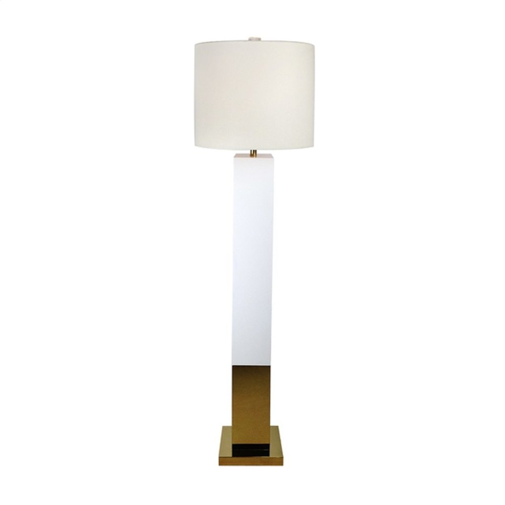 White Lacquer Floor Lamp With Brass Base and White Linen Drum Shade. Uses One 60w Bulb.