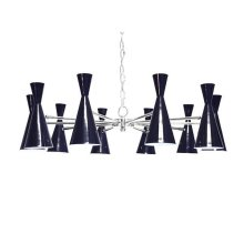 Ten Light Chandelier With Hour Glass Navy Shades In Nickel