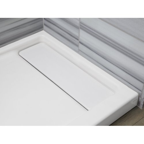 "White 60"" X 32"" Single-threshold Shower Base With Left Offset Drain"