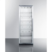 Full-size Commercial Beverage Center With Stainless Steel Interior, Self-closing Glass Door, Self-closing Glass Door With A Left Hand Swing, and Stainless Steel Wrapped Cabinet