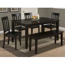 Simplicity Espresso Rectangle Dining Table With Four Slat Back Dining Chairs and One Bench