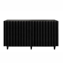Black Lacquer 4 Door Scalloped Front Cabinet With Component Holes In Back
