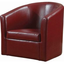 Contemporary Faux Leather Red Accent Chair