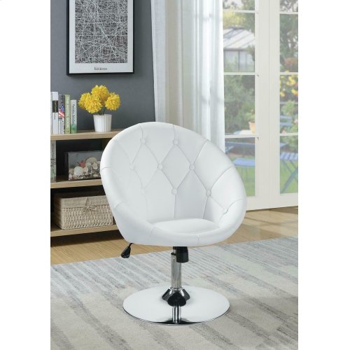 Brilliant Contemporary White Faux Leather Swivel Accent Chair Ncnpc Chair Design For Home Ncnpcorg