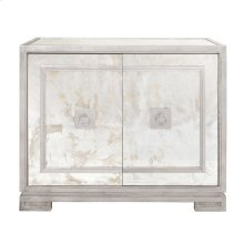 Antique Mirror & Silver Leaf 2 Door Cabinet With Greek Key Detail