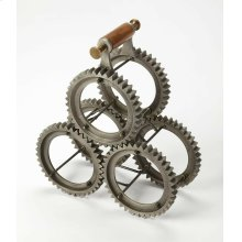 From storing your favorites vintages to lending an elegant accent to your kitchen or dining ensemble, this Industrial wine rack offers style and function to your home. Made from Cast Aliminum and Mango wood, it features a sprocket cradle and a carrying ha