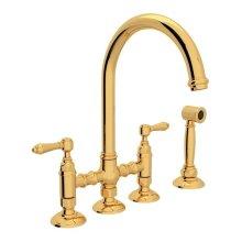 Italian Brass Italian Kitchen San Julio Deck Mount C-Spout 3 Leg Bridge Kitchen Faucet With Sidespray with Metal Lever