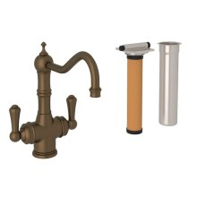 English Bronze Perrin & Rowe Edwardian Filtration 2-Lever Bar/Food Prep Faucet with Traditional Metal Lever