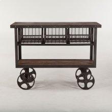"""Industrial Teak Cart Table 48"""""""