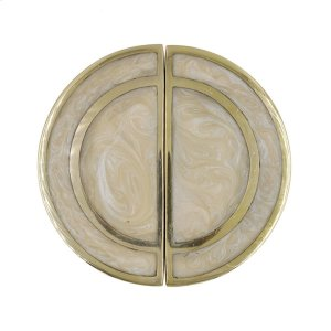 Half Round Brass Knob Pair With Inset Resin In Pearl Cream Product Image