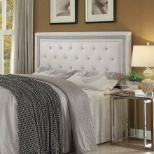Andenne Contemporary White Upholstered Queen Headboard