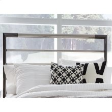 Kenton Metal Headboard Panel with Horizontal Bar Design, Black Nickel and Chrome Finish, Queen