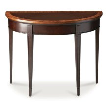 With simple lines, traditional styling and demilune shape, this elegant console table will enhance your space for years to come. Crafted from select solid woods and choice veneers, this classic design boasts a rich Cherry Nouveau finish and a beautiful ch