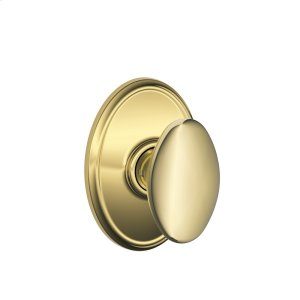 Siena Knob with Wakefield trim Hall & Closet Lock - Bright Brass Product Image
