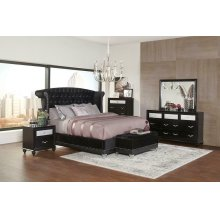 Barzini Black Upholstered Queen Five-piece Bedroom Set