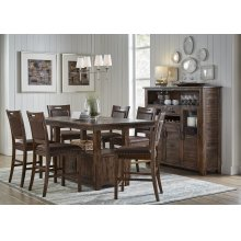 Cannon Valley Counter Height Storage Table With Six Stools