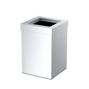 Square Modern Waste Basket in Chrome Product Image
