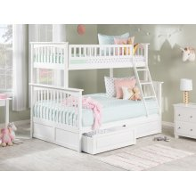 Columbia Bunk Bed Twin over Full with Raised Panel Bed Drawers in White
