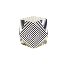 Geometric Navy and Off White Resin Side Table
