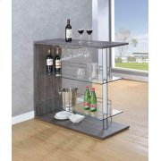 Two-shelf Contemporary Weathered Grey Bar Table Product Image