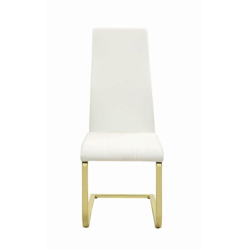 Chanel Modern White and Rustic Brass Side Chair