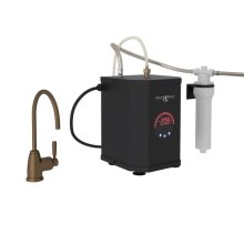 English Bronze Perrin & Rowe Holborn C-Spout Hot Water Faucet, Tank And Filter Kit