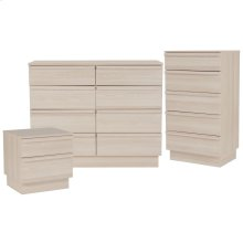 3 Piece Dresser, Chest of Drawers and Nightstand Set in Cambria Ash Finish
