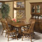 Classic Oak Burnished Rustic Trestle Table Product Image
