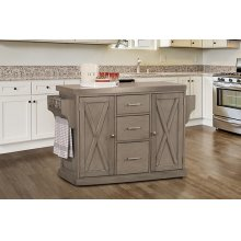 Brigham Kitchen Islands Gray - Stainless Steel