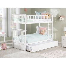 Columbia Bunk Bed Twin over Twin with Urban Trundle Bed in White