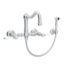 Polished Chrome Italian Kitchen Acqui Wall Mount Column Spout Bridge Kitchen Faucet With Sidespray with Porcelain Lever