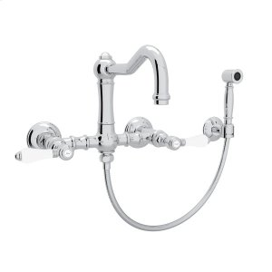 Polished Chrome Italian Kitchen Acqui Wall Mount Column Spout Bridge Kitchen Faucet With Sidespray with Porcelain Lever Product Image